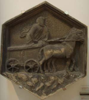 l carro di Tespi, formella del Campanile di Giotto, Nino Pisano, 1334-1336, Firenze